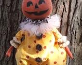 "Primitive Fall Pumpkin Clown 28"" tall from Veena's Mercantile pattern Fall decor"