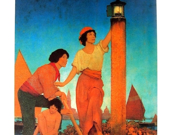 Maxfield Parrish Print - Venetian Lamplighter, circa 1922 - 1989 Large Poster Size Book Page - 16 x 11