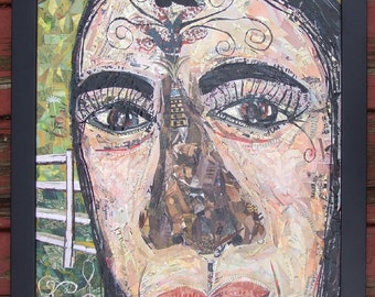 Amazing Large Framed Collage Art - City Girl in the Country - Fine Outsider Folk Art Original Painting