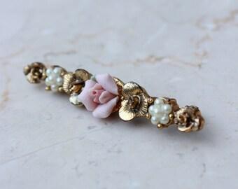 Pearls & Porcelain Rose Brooch Bar Victorian Style Vintage Sweet Romantic Darling Gift