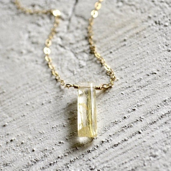 Gold rutilated quartz jewelry gold rutilated quartz necklace for Golden rutilated quartz jewelry