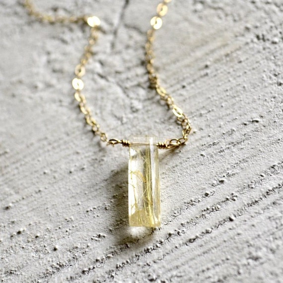 Gold rutilated quartz jewelry gold rutilated quartz necklace for Golden rutilated quartz jewelry
