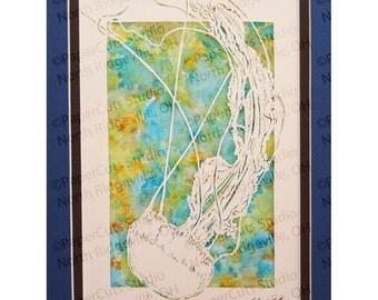 Jellyfish Papercutting- Handcut, Original, Watercolor