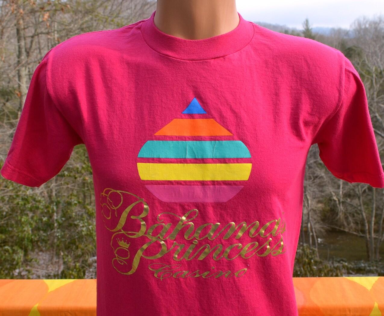 Shinny Caribbean: Vintage 80s Tee BAHAMAS Princess Casino Shiny Gold Caribbean