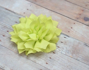 Pale Chartreuse Flower Hair Clip - Lotus Blossom - With or Without Rhinestone Center