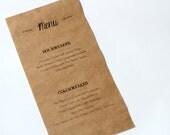 RESERVED LISTING Kraft Paper Menu for Magali