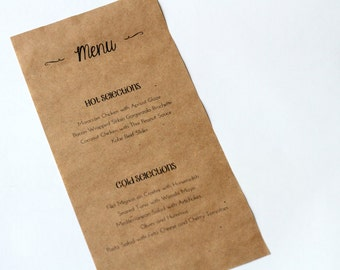 Kraft Paper Menu, Butcher Paper Menu, Rustic Chic Wedding, Reception Table, Bistro Menu, Rehearsal Dinner, Cafe Menu, Weddings