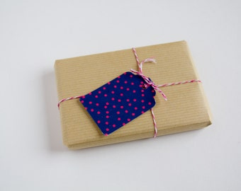 Gift tags - Hand punched - For Decoration, Gift Embellishments, Wedding - Dotted - Indigo blue and cherry red