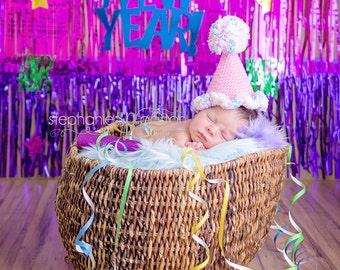 Baby Party Hat - Baby First Birthday Hat - New Years Hat for Boy or Girl - Newborn Photo Prop - Baby Photo Prop - READY TO SHIP