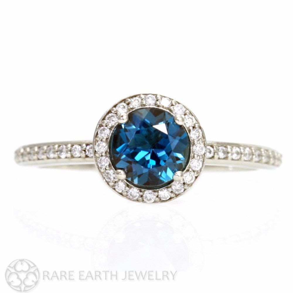 blue topaz ring halo unique engagement by