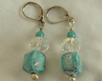 Pierced Beaded Earrings, Aqua, Silver, Composite, Glass, Beads, Caribbean