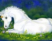Unicorn Fantasy Fine Art Print White Horse Foal 5x7