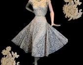 Vintage 50s Champagne Lace Wedding Dress L ~ Couture Tea Gown ~ BEN REIG ~ Silk Ombre Strapless Slip