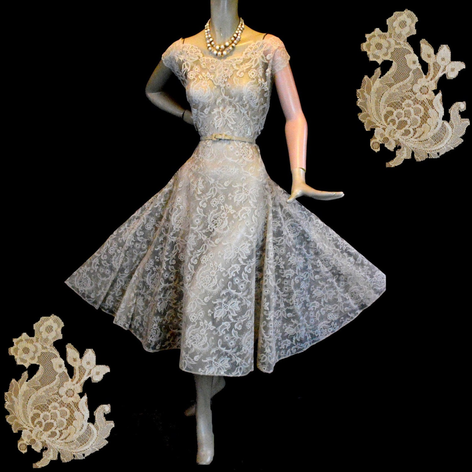 Champagne Vintage Wedding Dresses: Vintage 50s Champagne Lace Wedding Dress L By Labellevintage