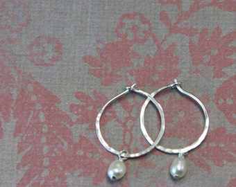 Small Silver Hoop Earrings with Removeable Freshwater Pearls, Small Hoop Earrings, Sterling Silver