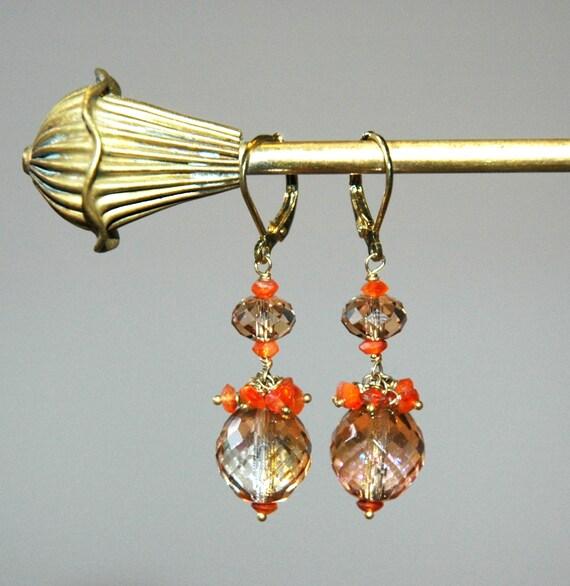 Small Gold Earrings / Gold Topaz Earrings / Gold Orange Earrings / Wedding Jewelry / 14k Gold Filled Earrings Carnelian and Topaz Gemstones