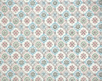 1940s Vintage Wallpaper by the Yard - Pink Blue and White Geometric