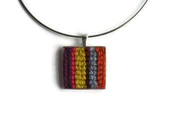 Statement Necklace, Square Pendant, Embroidery Stripes, Minimalist Jewelry, Textile Jewelry, Yellow Purple, Choker Necklace, One of a Kind
