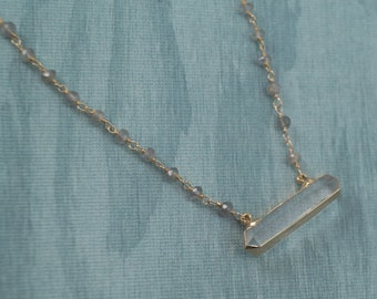 Double Point Crystal Pendant with Labradorite Chain, double terminated crystal, crystal necklace, labradorite necklace