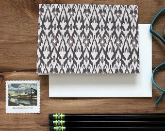 Set (10) Taupe / Neutral Ikat Notecards