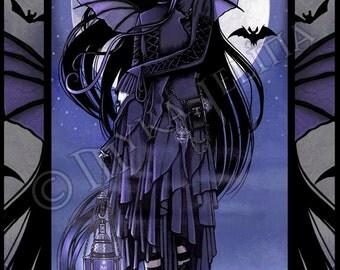 Gothic Vampire Bat Purple Moon Fairy Morgan Mini Art Canvas ACEO/ATC