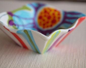 Bowl Pottery Bowl Colorful Bowl Stripes & Flowers Ceramic Bowl Jubilation Med Flareware Bowl Best Friend Gift Boho Decor Birthday Gift J