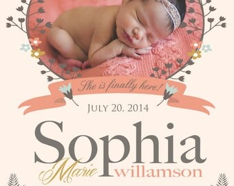 Girl Birth Announcement - FINALLY HERE - Photo - Baby Girl Announcement  - Printable, Digital - Vintage Flowers -  Hi Birth Announcement