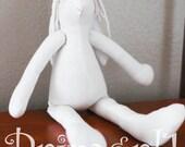 """11"""" Handmade Body Form Blank Bleached Muslin Bunny Rabbit Doll HAFAIR"""