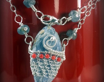Kyanite Necklace on Sterling Silver Chain with Kyanite beads