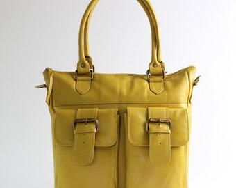 Yellow Leather Tote Handbag