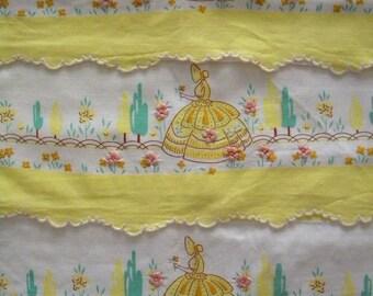 3 Piece Pillow Case Set Sunbonnet Girl with Embroidered Flowers Long Bolster Pillow