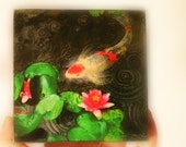 art, Dark rain, 4x4 inches, wood mounted photograph, Koi ponds, Koi art, rain drops