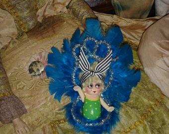 Vintage Bisque Kewpie Doll Mini Carnival Prize Showgirl Blue Repaint