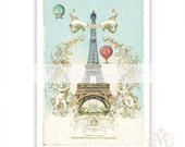 Eiffel Tower art print, French wall decor, Paris, hot air balloon print, Christmas in Paris, vintage art print, vintage flight print, blue
