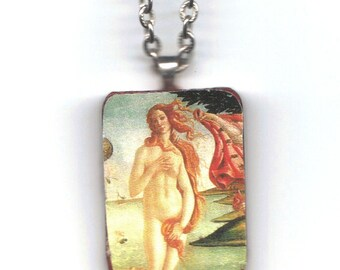 """Wooden pendant with decoupaged Botticelli """"Birth of Venus"""" image"""