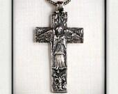 Italian Art Nouveau Sterling Silver Angel of the Annunciation Cross Pendant- Replica