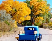 Turquoise Blue Chevy Heading Home Sante fe family outing Autumn New Mexico Chevrolet Truck 8x10 8x8 antique pickup Photograph