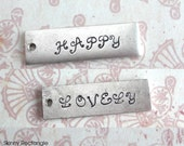 One Word, Date or Name .. Skinny Rectangle Charm .. Customize, Personalize, Monogram  .. Long Square Edged Tag, Antiqued Gift, Unique, Fun