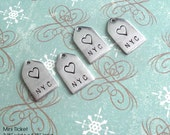 NEW Mini Ticket Tag shape. 2 words. Mini Disc & Square Charms also available. Monograms, Couples, Initials, Cute, silver, copper, gold plate