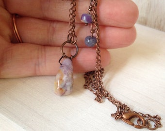 Petite Asymmetrical Necklace Copper Rustic Handmade Jewelry Lavender Stone Earthy Bohemian Jewelry California USA Handcrafted