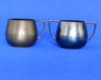 Empire Crafts Silver Plated Creamer and Sugar Bowl Set - Quadruple Silverplate -