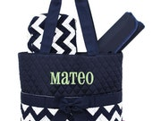 Personalized Diaper Bag Navy Blue Chevron Quilted Monogrammed Baby Tote
