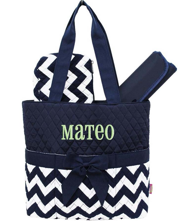 personalized diaper bag navy blue chevron quilted monogrammed. Black Bedroom Furniture Sets. Home Design Ideas