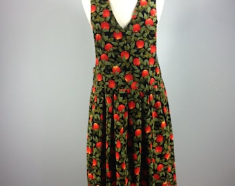 vintage country dress, 80s jumper, apple print dress, country dress, fall dress