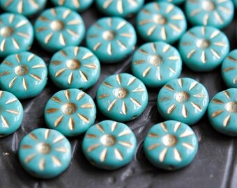 Miss Sunshine - Czech Glass Beads, Opaque Turquoise, Metallic Gold, Daisy Coins 12mm - Pc 6