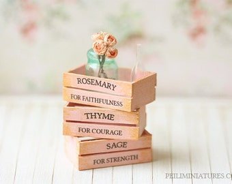 Dollhouse Accessories - Herb Wooden Vintage Crates- Pink