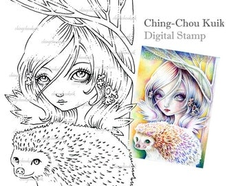 Little Sparkles - Digital Digi Stamp Instant Download / Cute Hedgehog Fantasy Art by Ching-Chou Kuik