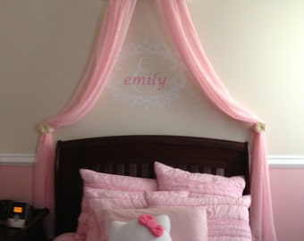 Bed Crown Princess CRIB Canopy Personalized FREE White with Pink Tulle Upholstered SaLe