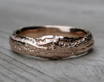 Mens Branch Wedding Band: Rose, White, or Yellow Gold, 5mm-6mm Wide