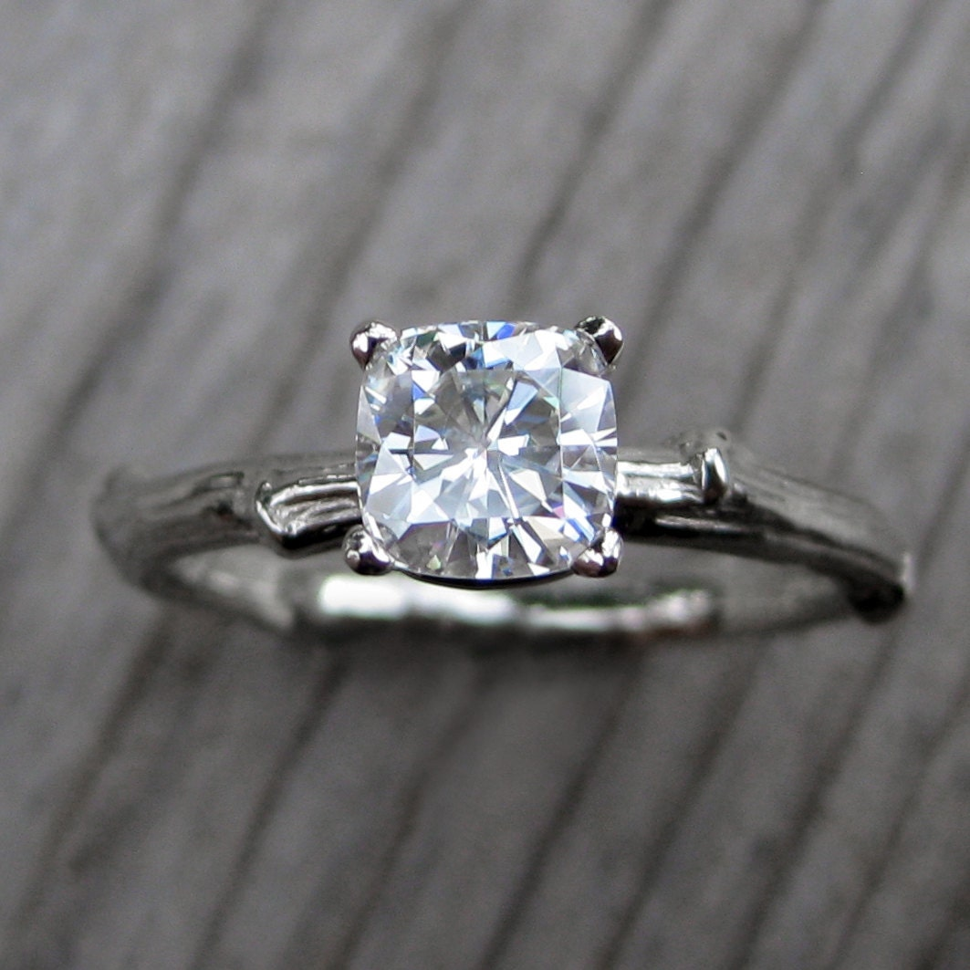 twig wedding ring cushion moissanite twig engagement ring white yellow or 8131